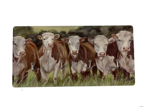 Hereford Cows Key Holder