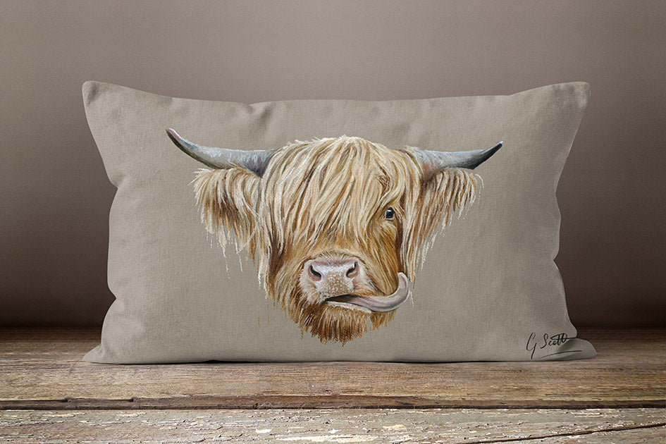 Highland Cow Oblong Cushion
