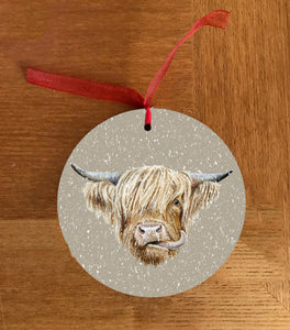 Highland Cow Christmas Hanging Decoration