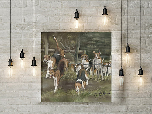 Hounds Hunting Scene Limited Edition Canvas Print
