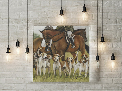Horse And Hounds Hunting Limited Edition Canvas Print