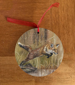 Leaping Fox Christmas Hanging Decoration