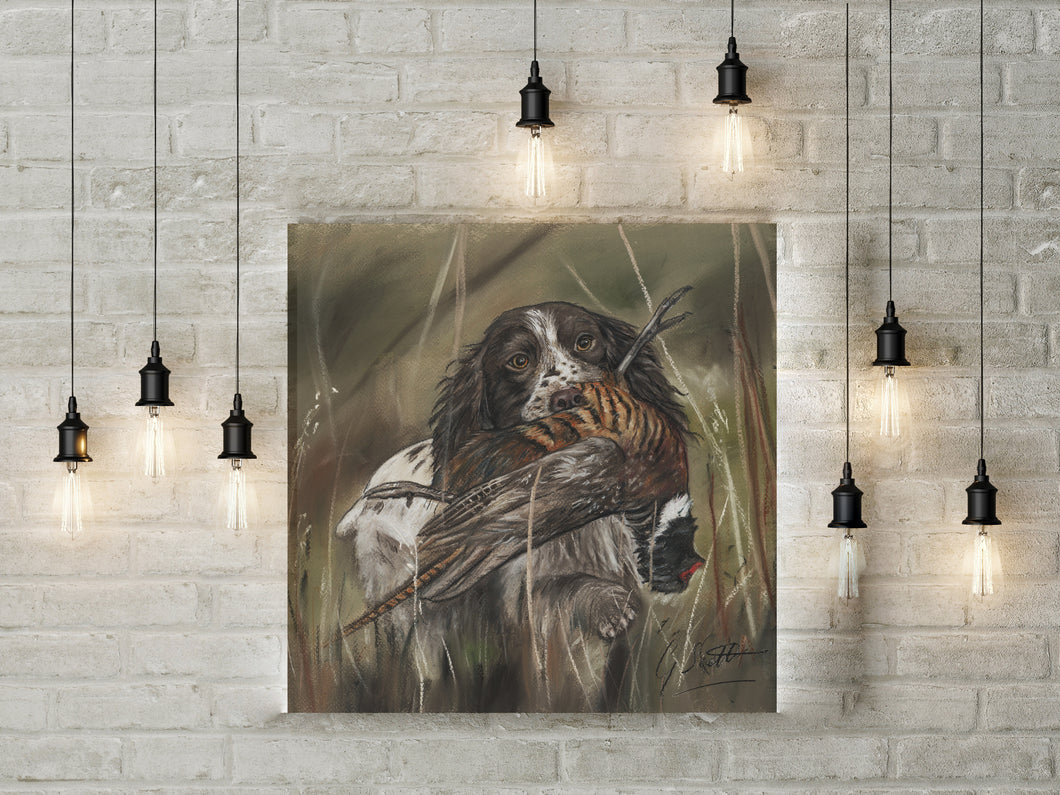 Spaniel With Pheasant Hunting Limited Edition Canvas Print
