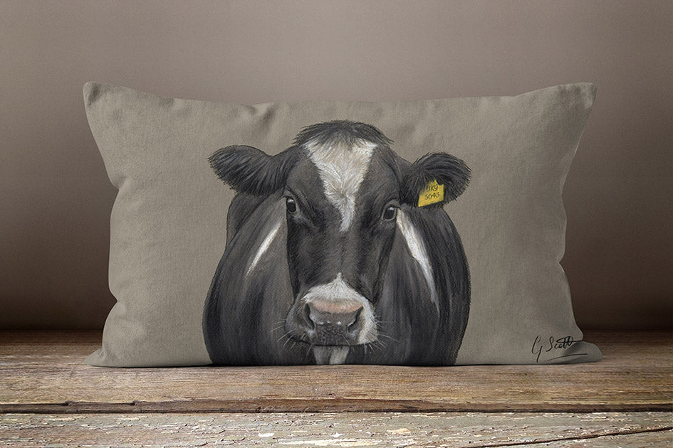Friesian Cow With Tag Oblong Cushion