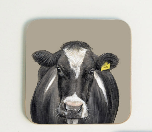 Cow with Tag Coaster