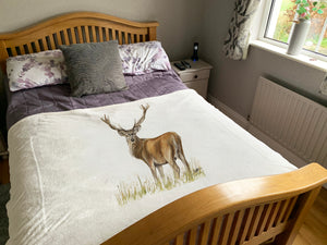 Stag Through Grass Super Soft Blanket