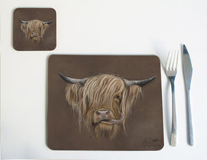 Highland Cow with Brown Background Placemat