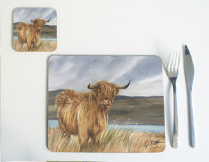 Highland Cow with Mountains Placemat