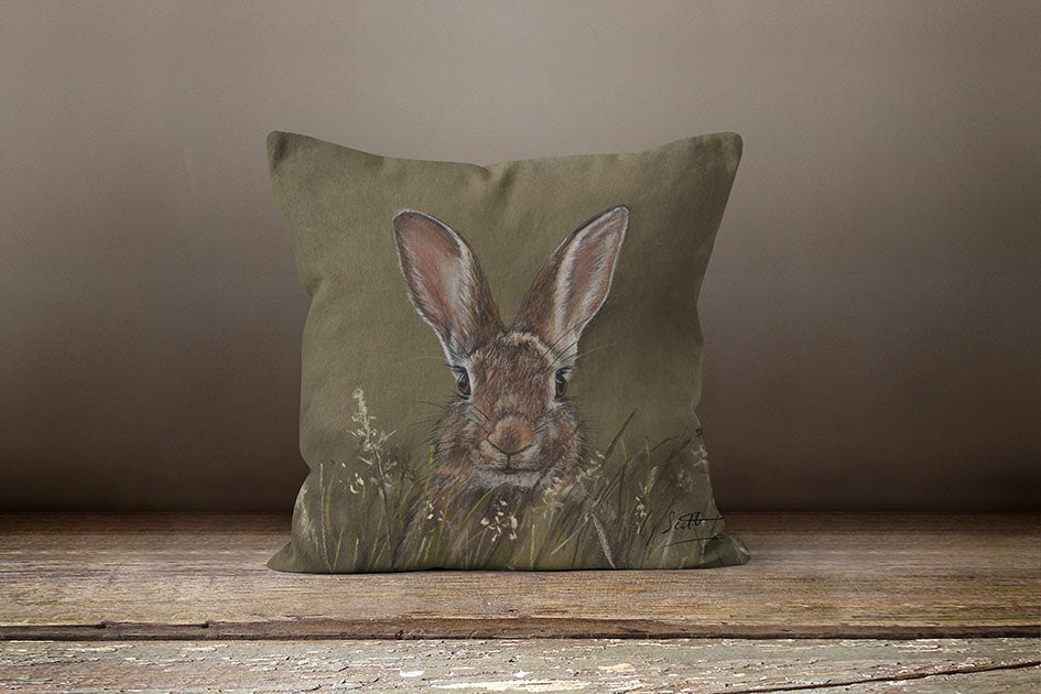 Running Hare Through Woodlands Square Cushion