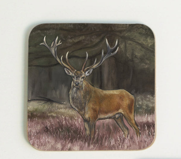 New Stag in Heather Coaster