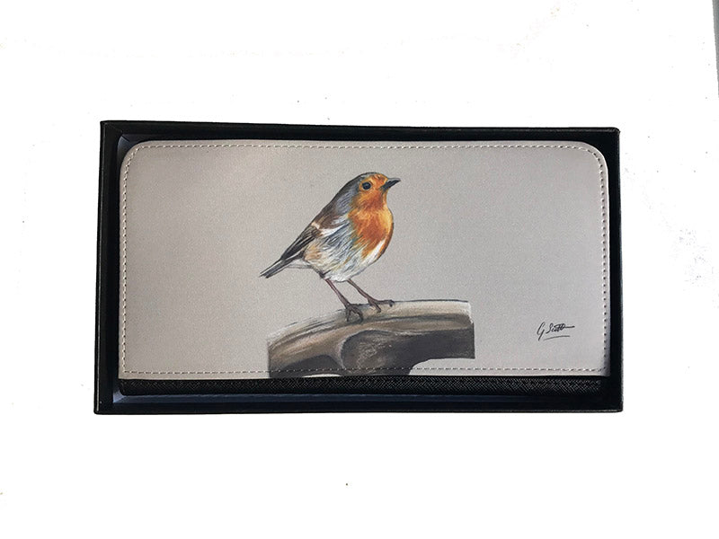Robin On Spade Garden Bird Zipped Purse