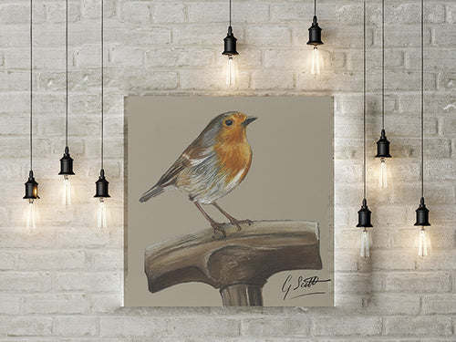 Robin On Spade Garden Bird Limited Edition Canvas Print