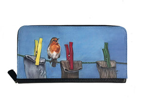 Robin On Clothes Line Garden Bird Zipped Purse