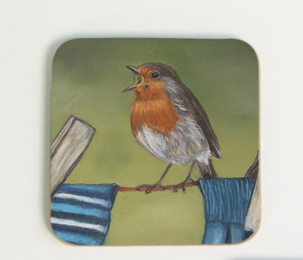 Robin on Clothes Line Coaster