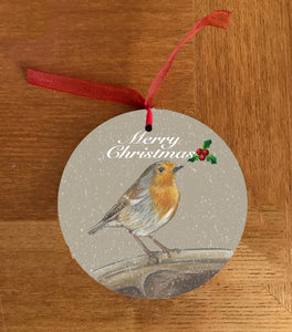 Robin On Spade Garden Bird Hanging Decoration