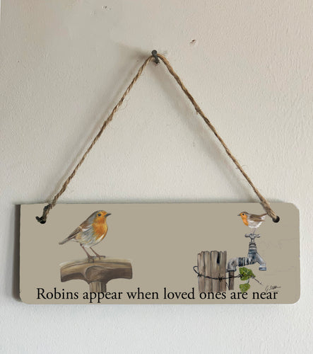 Robin Garden Birds Hanging Sign