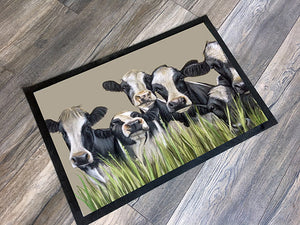 Row Of Friesian Cows Floor Mat