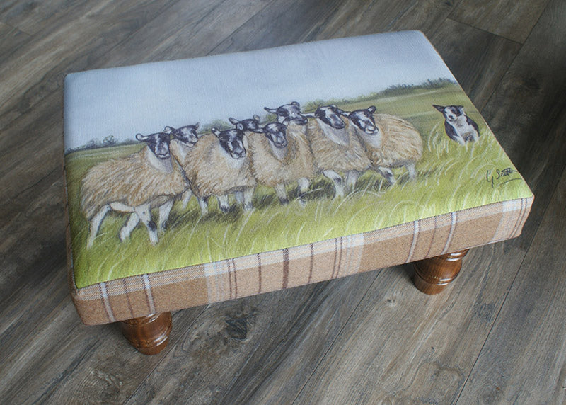 Collie Herding Sheep Footstool