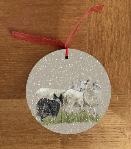 Collie Herding Sheep Christmas Hanging Decoration