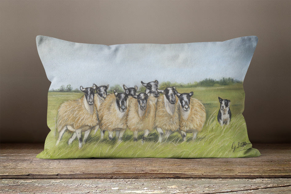 Sheep And Collie Oblong Cushion