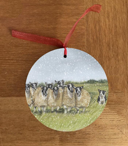Herd Of Sheep With Collie Christmas Hanging Decoration