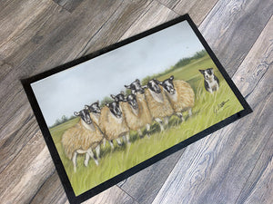Flock Of Sheep And Collie Floor Mat