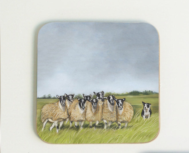 Sheep and Collie Coaster