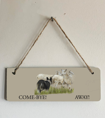 Collie Herding Sheep Sign