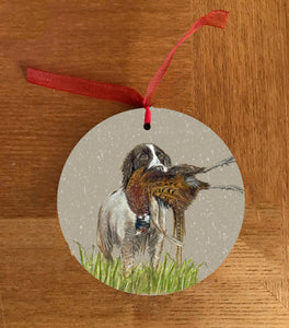 Spaniel With Pheasant Hanging Decoration