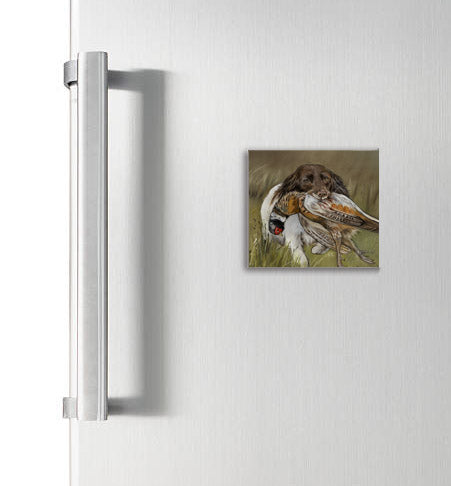 Spaniel With Pheasant Hunting Scene Square Magnet
