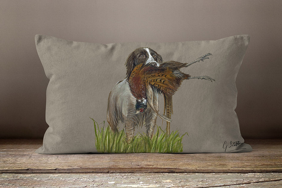 Spaniels With Pheasant Hunting Themed Oblong Cushion By Grace Scott