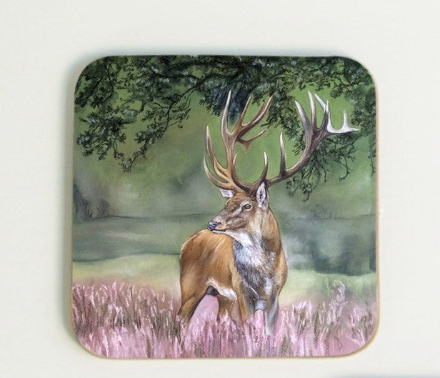 Stag in Heather Coaster