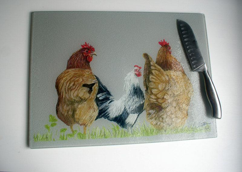 Trio Of Hens Farming Themed Worktop Saver