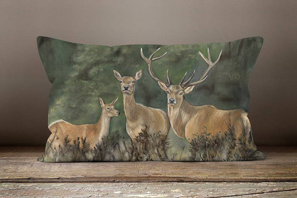 Trio Of Stags In Woodland Oblong Cushion