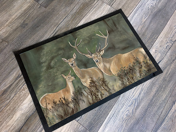 Trio Of Stags Hunting Themed Floor Mat