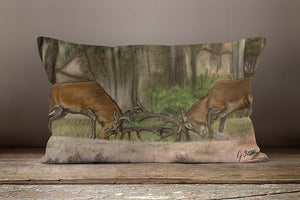 Stags Fighting In Forest Oblong Cushion