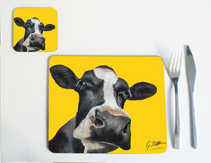 Friesian Cow Head with Yellow Background Placemat