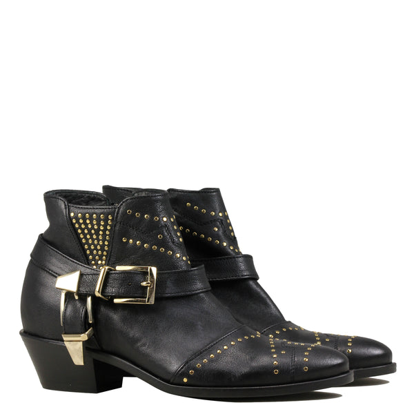 Boots rock Lemare 1696 Black Leather + Gold