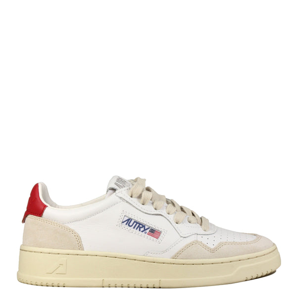 Autry Action Shoes 01 Low W Leather Suede White Red