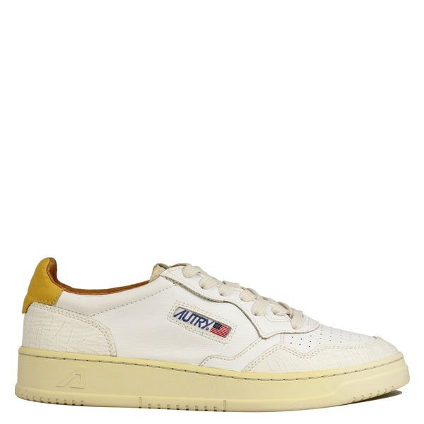 Autry Action Shoes 01 Low Leather White Crack Yellow