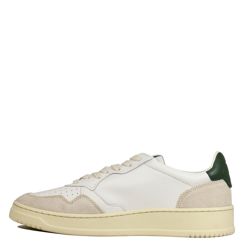 Autry Action Shoes 01 Low Leather Suede White Dk Green