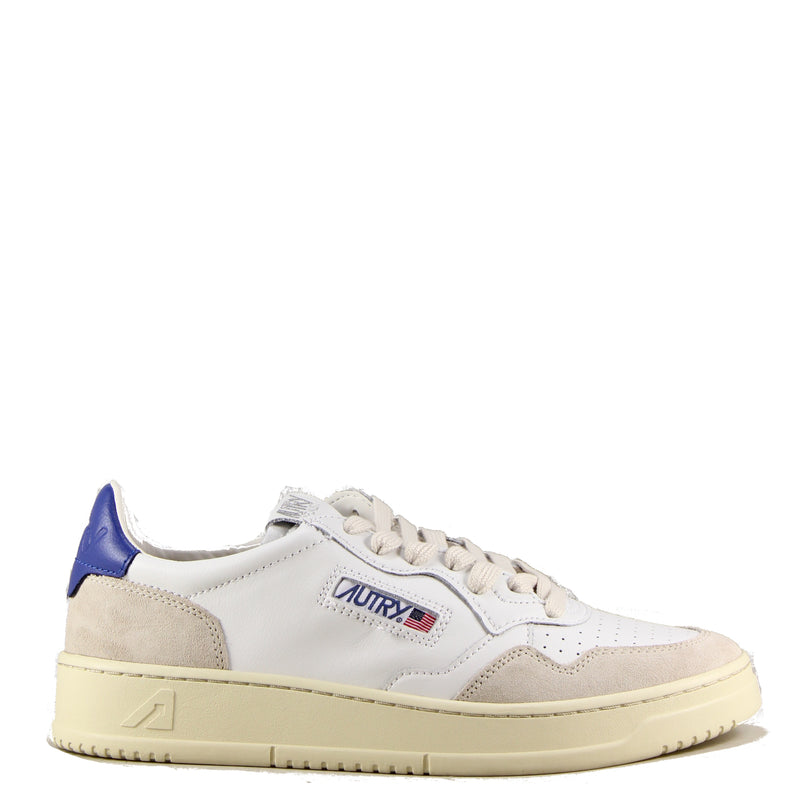 Autry Action Shoes 01 Low Leather Suede White Navy (Blue)