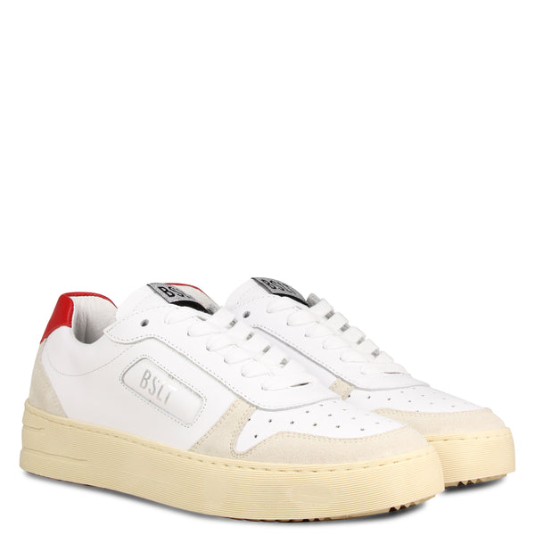 Basalt School Plato White Suede Red