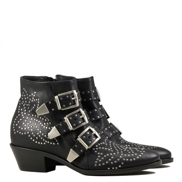 Lemare 0351 Boots Black w. Silver Studs