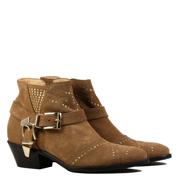 Boots rock Lemare 1696 Velour Sigaro + Gold