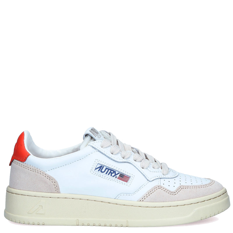 01 Low Leather Suede White Orange