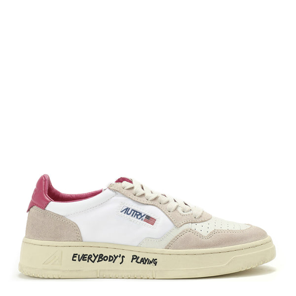 Autry Action Shoes 01 Low Crack Nylon White Fuchsia