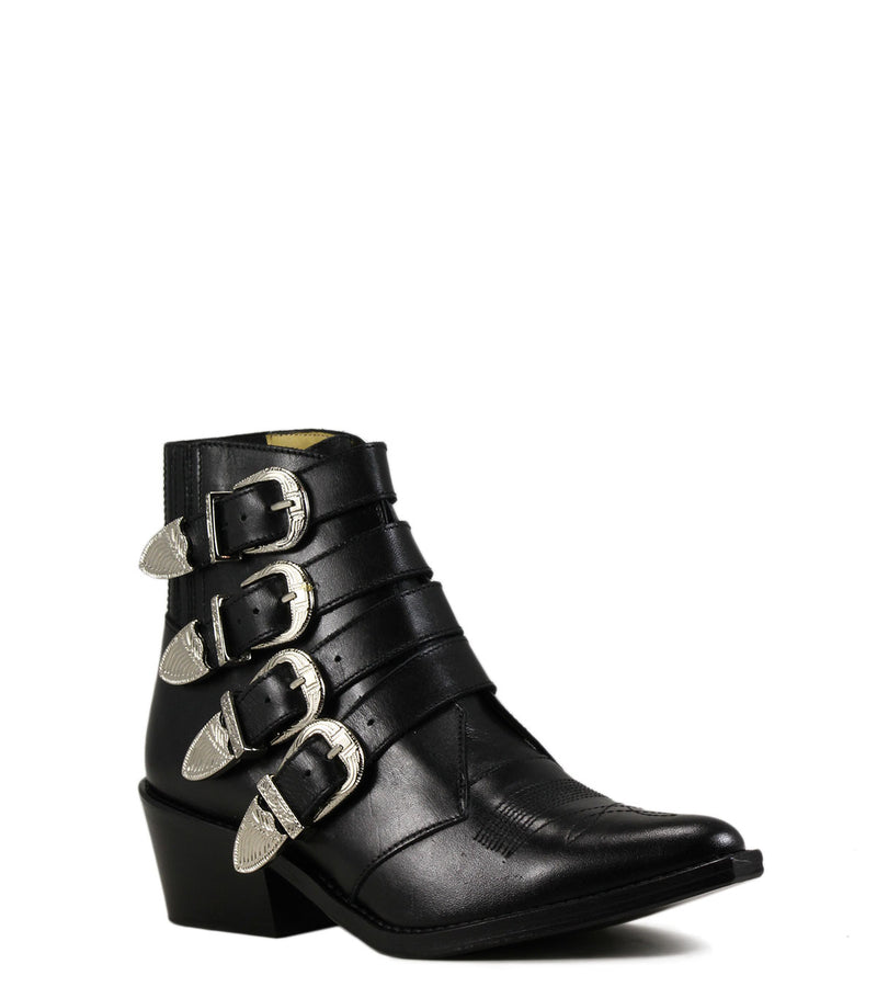 Boots à boucles Toga Pulla AJ006 Black Leather