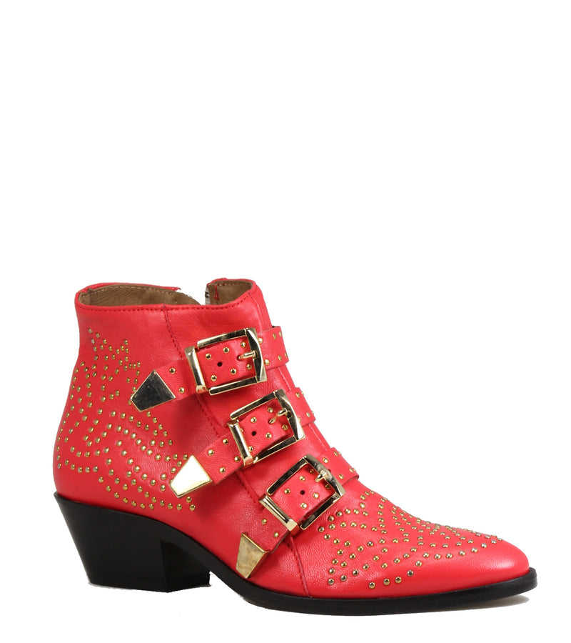 Boots Lemare 0351 Red w. Gold Studs