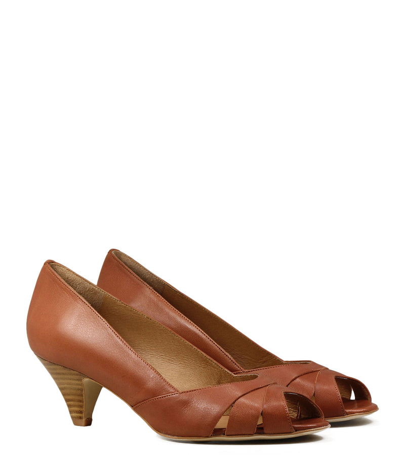 Escarpins Peep Toe Sessun Esteban Toffee